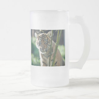 Tiger Cub Frosted Glass Beer Mug