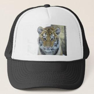 Tiger Cub In Snow Close Up Portrait Trucker Hat