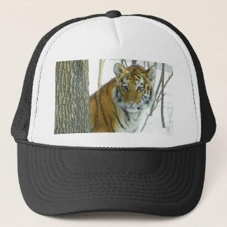 Tiger Cub In Snow Peeking Around Tree Trucker Hat