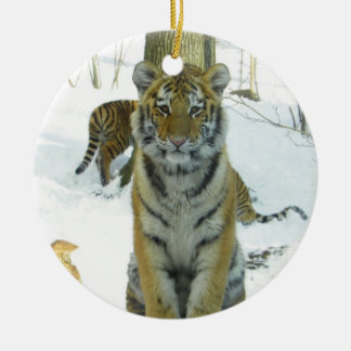 Tiger Cub In Snow Portrait Double-Sided Ceramic Round Christmas Ornament