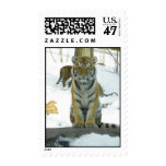Tiger Cub In Snow Portrait Postage Stamp