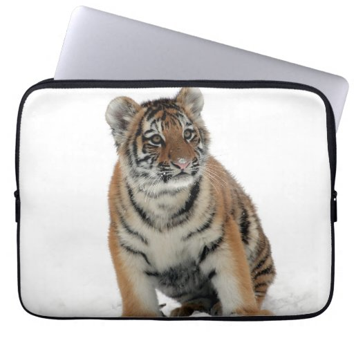 Tiger Cub in the Snow Photograph Laptop Sleeve