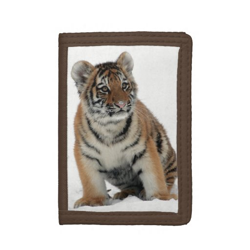 Tiger Cub in the Snow Photograph Trifold Wallet