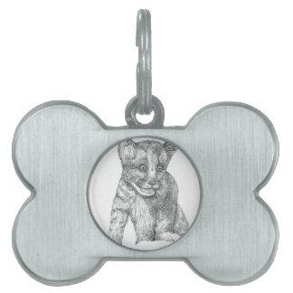 Tiger Cub pen and ink Pet ID Tag