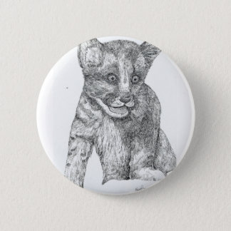 Tiger Cub pen and ink Pinback Button