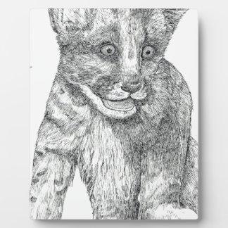 Tiger Cub pen and ink Plaque