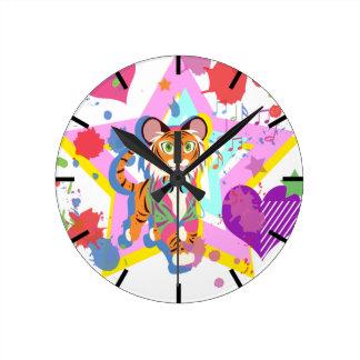 Tiger Cub Round Clock