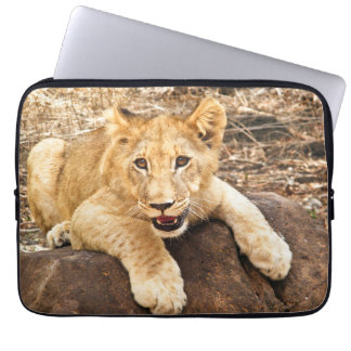 Tiger Cub Takes Breather On A Rock Laptop Sleeve