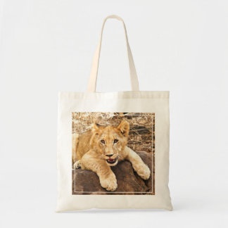Tiger Cub Takes Breather On A Rock Tote Bag