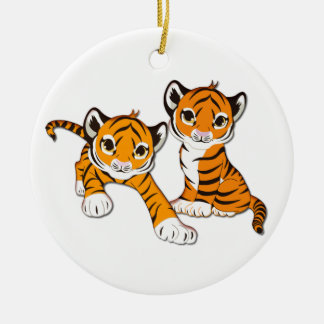 Tiger Cub Twins Double-Sided Ceramic Round Christmas Ornament