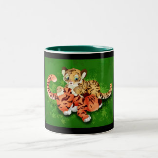 tiger cubs Two-Tone coffee mug