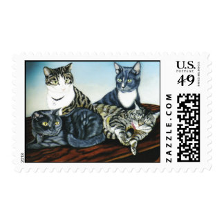"""""""Tiger, Dallas, Ike and Ryle"""" cat portrait stamp"""