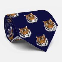Tiger Dark Navy Blue Background Neck Tie