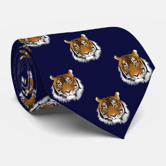 Tiger Dark Navy Blue Background Neck Tie