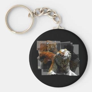 Tiger Delight Basic Round Button Keychain