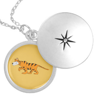 Tiger design matching jewelry set round locket necklace