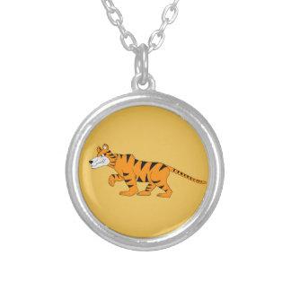 Tiger design matching jewelry set round pendant necklace