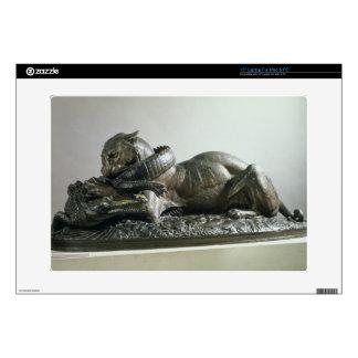 "Tiger devouring an alligator, 1832 (bronze) 15"" laptop decal"
