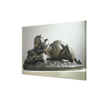 Tiger devouring an alligator, 1832 (bronze) canvas print