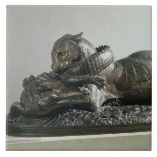 Tiger devouring an alligator, 1832 (bronze) ceramic tile