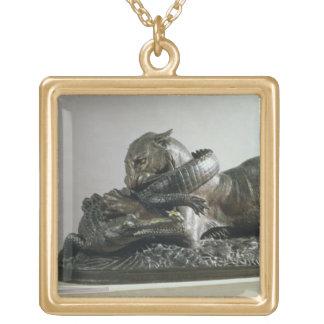 Tiger devouring an alligator, 1832 (bronze) gold plated necklace