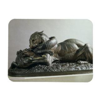 Tiger devouring an alligator, 1832 (bronze) rectangular photo magnet