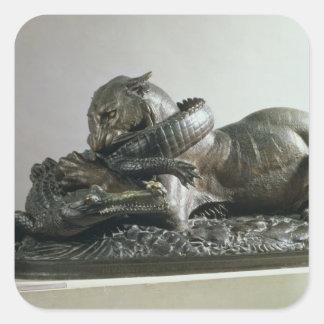 Tiger devouring an alligator, 1832 (bronze) square sticker