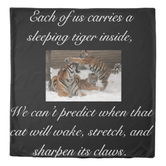 Tiger double sided duvet cover with quotes
