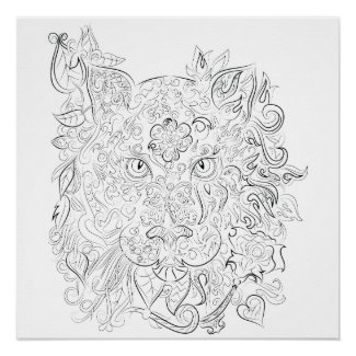 Tiger drawing adult coloring poster