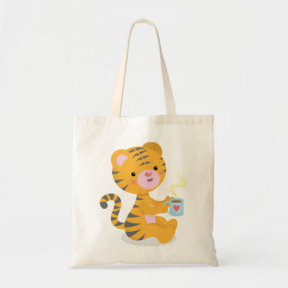 Tiger drinking coffee-bag tote bag