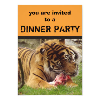 """Tiger Eating His Meat Dinner Party Invitations 5"""" X 7"""" Invitation Card"""