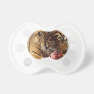 Tiger Eating His Meat Real Photo Pacifier
