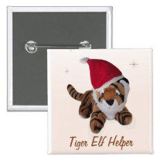 Tiger Elf Helper In Santa Hat  Badge Name Tag Pinback Button at Zazzle