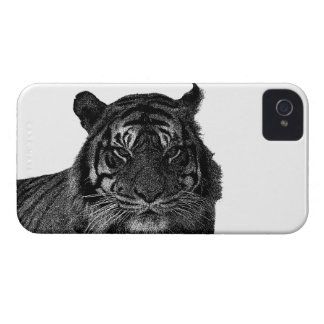 Tiger Endangered Species Wild Cats Black and White iPhone 4 Cases
