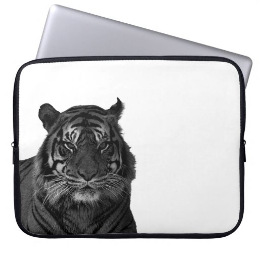 Tiger Endangered Species Wild Cats Black and White Laptop Sleeve