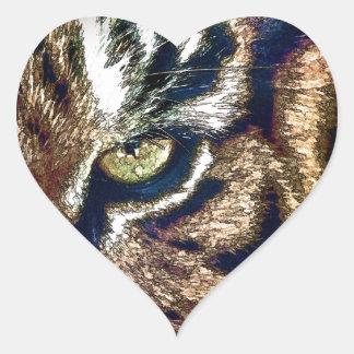 Tiger Eye Heart Sticker