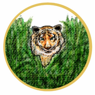 Tiger Eyes photo-sculpture key chain Photo Cut Out