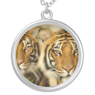 Tiger Eyes Round Pendant Necklace