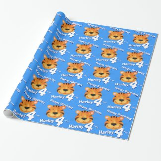 Tiger face art and name blue 4th birthday wrap wrapping paper