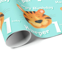 Tiger face art name 1st birthday wrap wrapping paper