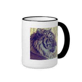 Tiger Face Aside Special Light Effect Vintage Ringer Mug