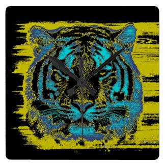 Tiger Face Close-Up 10 Square Wall Clock