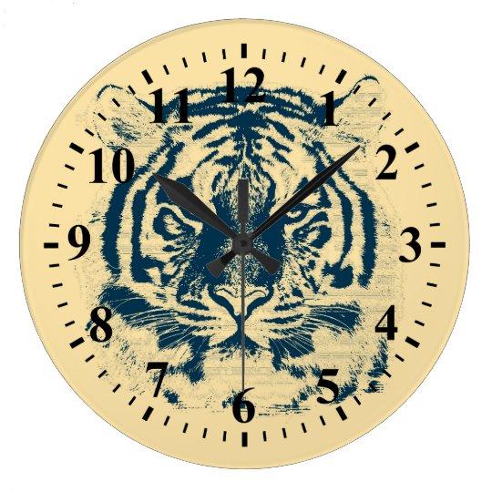 Tiger Face Close-Up 3 Large Clock