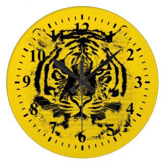 Tiger Face Close-Up 7 Large Clock