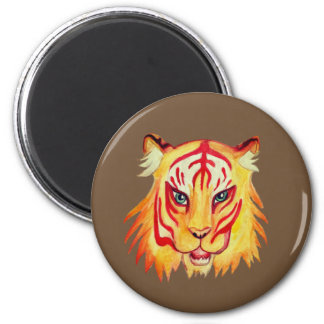 Tiger Face  Drawing  Standard, 5.7 Cm Round Magnet