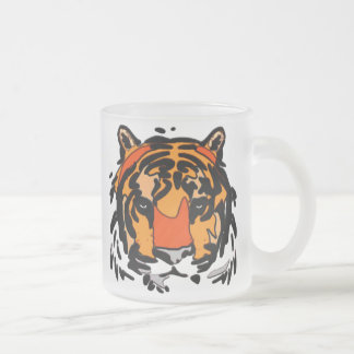 Tiger Face Frosted Glass Coffee Mug