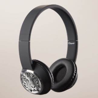 Tiger Face in Black and White Headphones