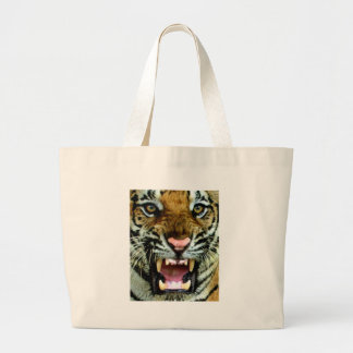 tiger face large tote bag