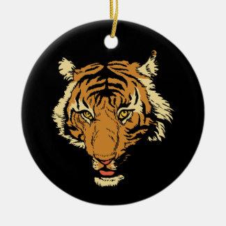 Tiger face round ceramic ornament