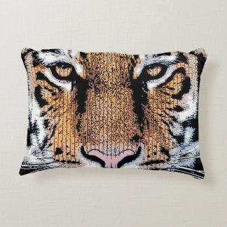 Tiger face stare in Graphic Press Style Decorative Pillow